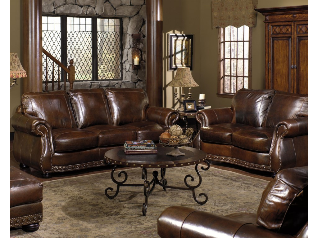 USA Premium Leather 8755Stationary Living Room Group