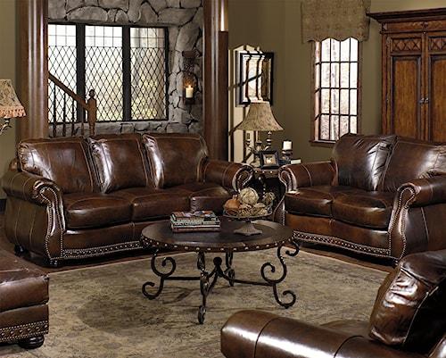 USA Premium Leather 8755 Stationary Living Room Group