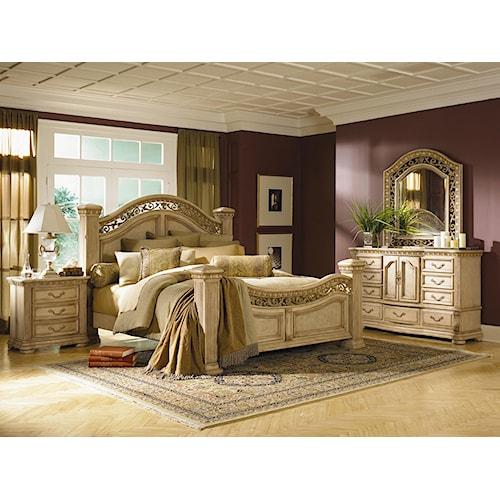 Flexsteel Wynwood Collection Antiguo Blanco King Bedroom