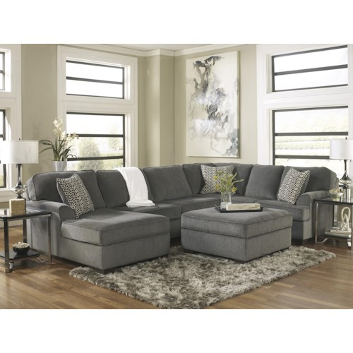 Ashley furniture loric smoke stationary living room for L fish furniture indianapolis