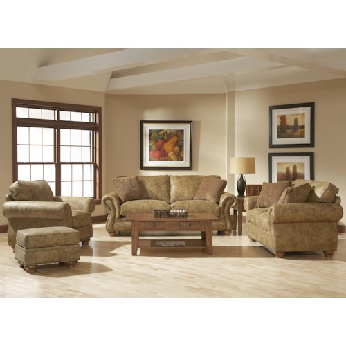 Broyhill furniture laramie stationary living room group for Living room furniture groups