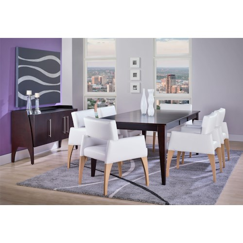Canadel custom dining formal dining room group belfort for Custom dining room tables