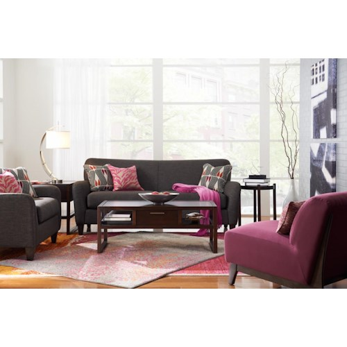 La z boy dolce stationary living room group godby home for Living room furniture groups