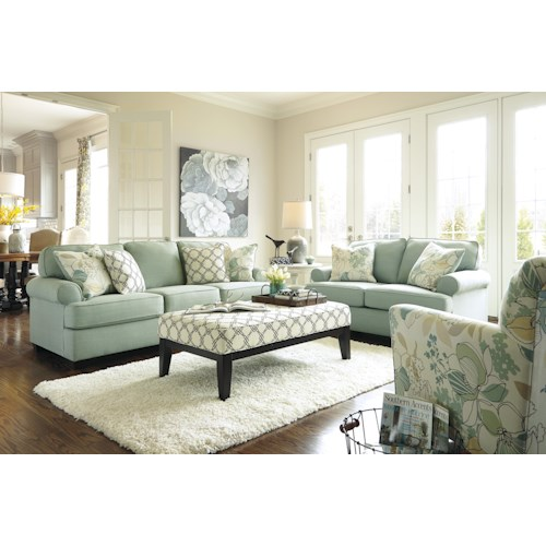 Signature design by ashley daystar seafoam stationary for Living room furniture groups