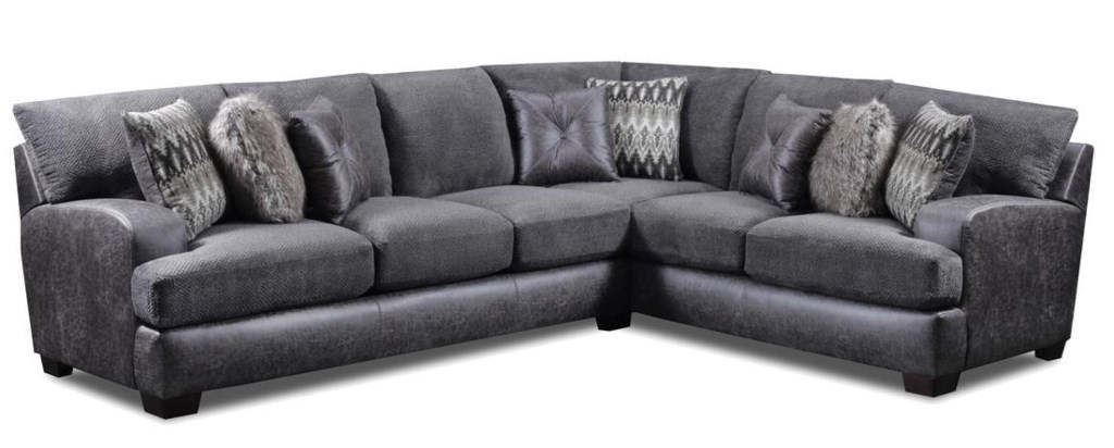 Seminole Furniture 3250 Contemporary 5 Seat L Shaped Sectional  ~ Grey Leather L Shaped Sofa