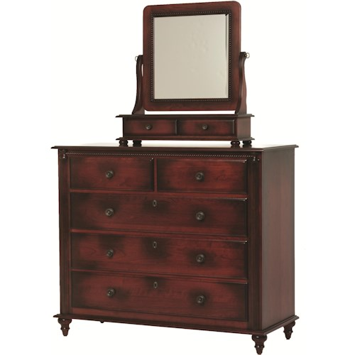 Rotmans Amish Fur Elise Dressing Chest with 5 Drawers and Mirror
