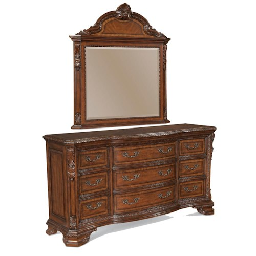 Belfort Signature Overture Drawer Dresser and Vertical Mirror