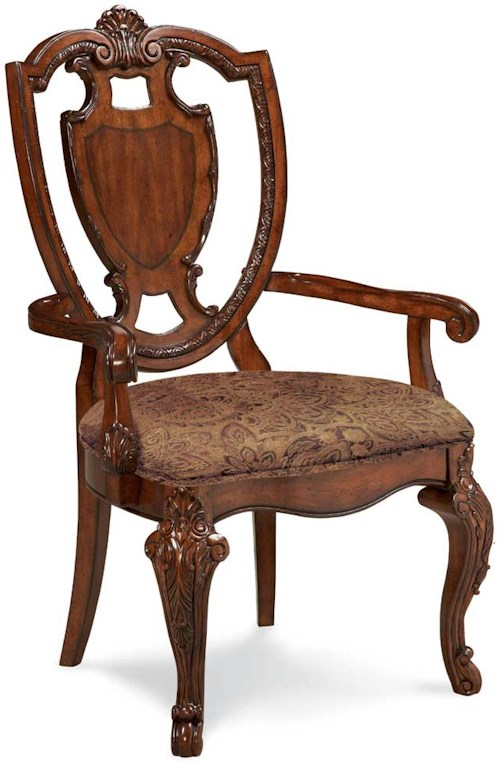 Markor Furniture Old World Shield Back Arm Chair Dubois Furniture Dining Arm Chairs Waco
