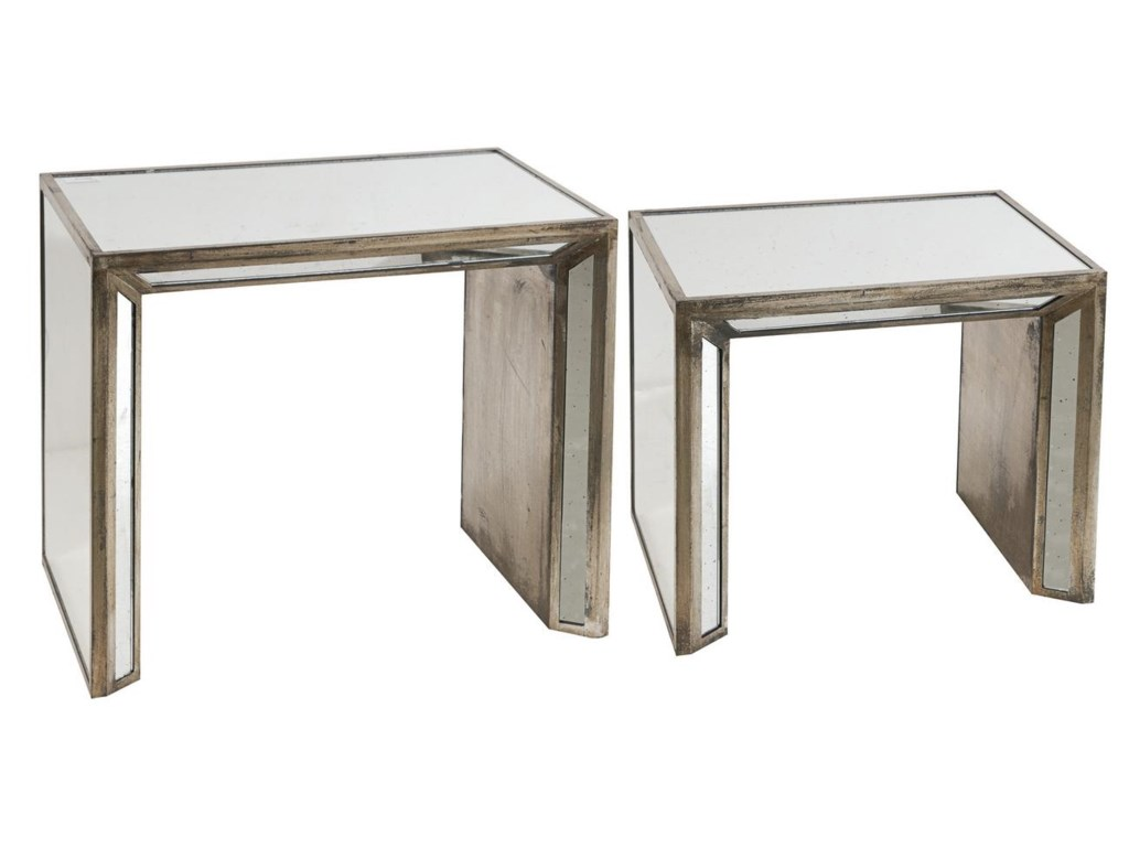A & B Home Occasional AccentsWaverly Mirrored Nesting Side Tables