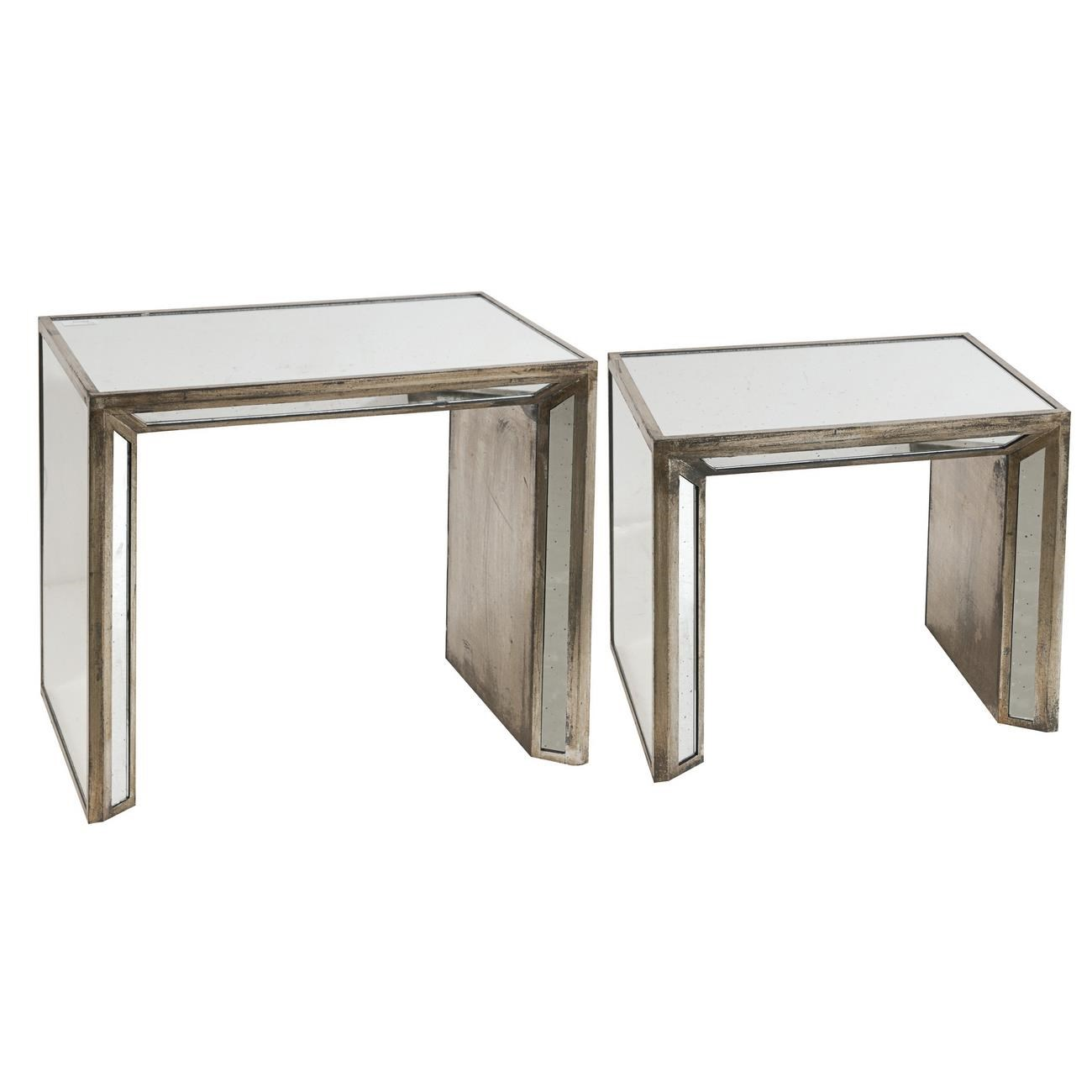 A U0026 B Home Occasional AccentsWaverly Mirrored Nesting Side Tables
