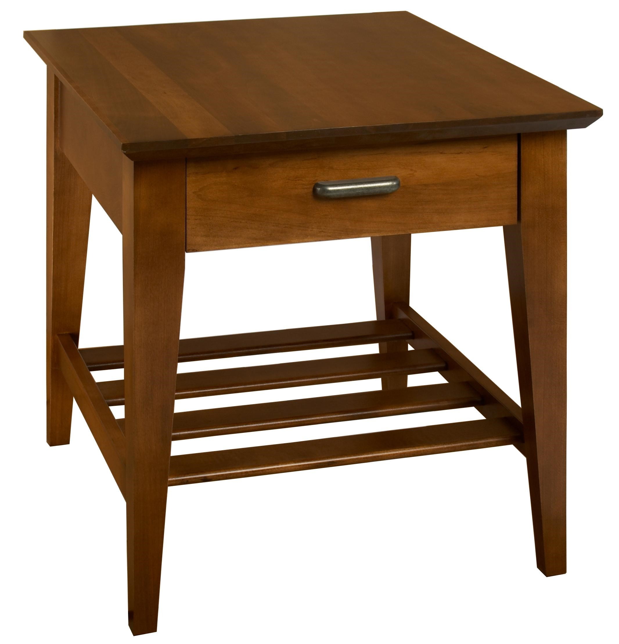 Contemporary Maple End Table with Slatted Shelf and Drawer