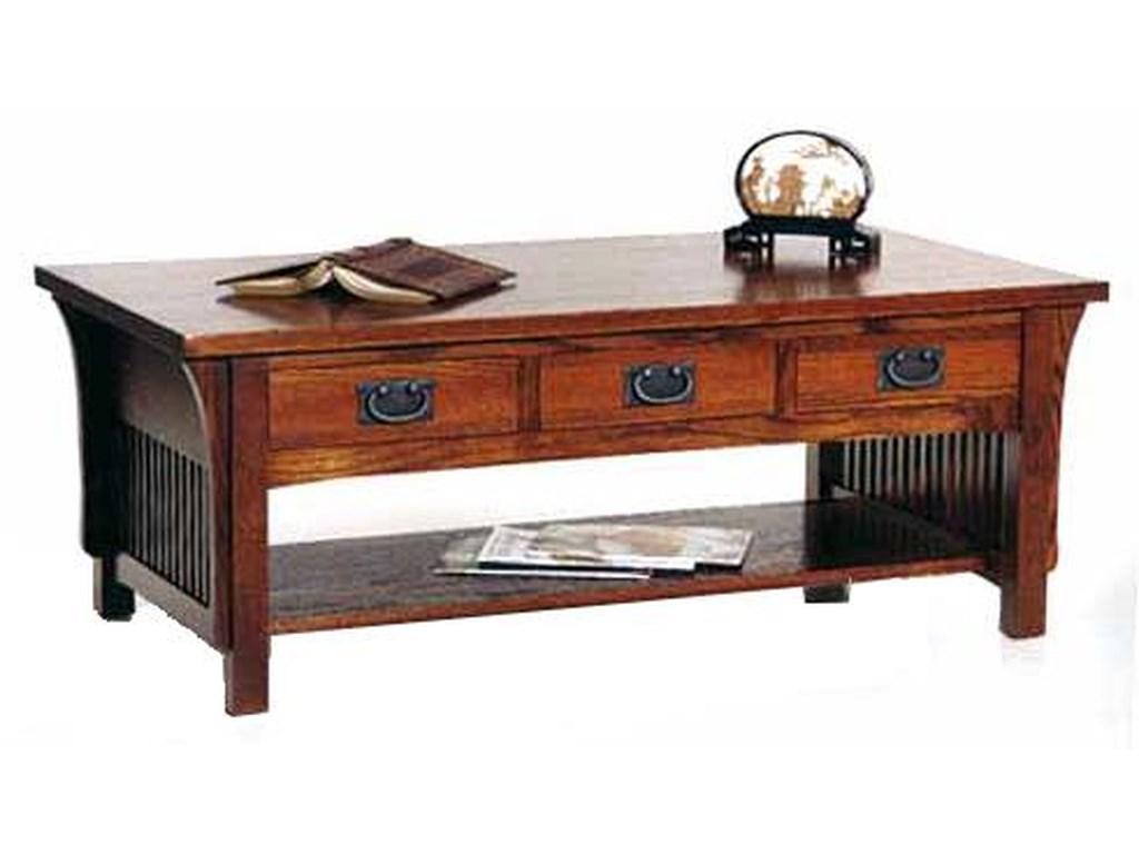 AA Laun Arts and Crafts Cocktail Table with 3 Drawers