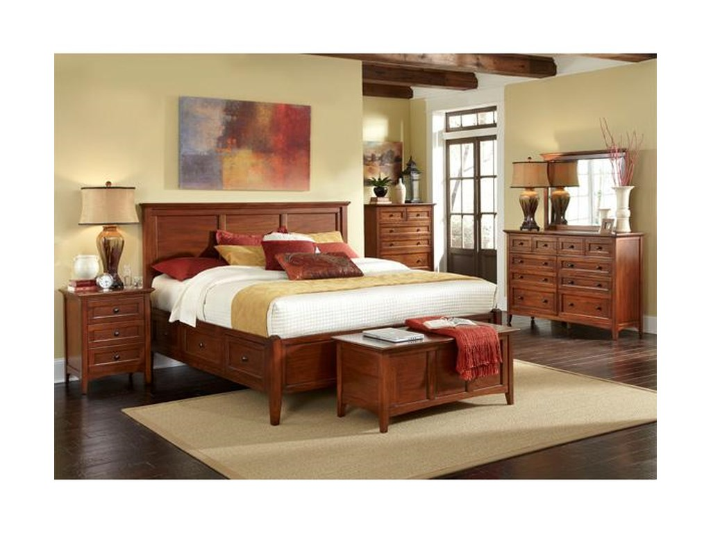 AAmerica Waterford Collection 4PC Queen Storage Bedroom Set