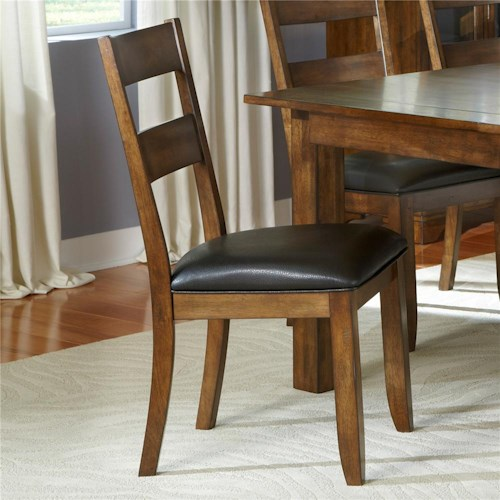 AAmerica Mariposa Ladder Back Side Chair with Upholstered Seat