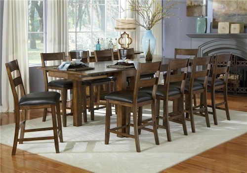 AAmerica Mariposa 11 Piece Gathering Table and Ladderback Side Chair Set