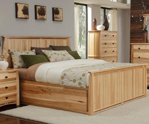 AAmerica Adamstown Queen Solid Hickory Panel Bed with Large Underbed Storage Drawer