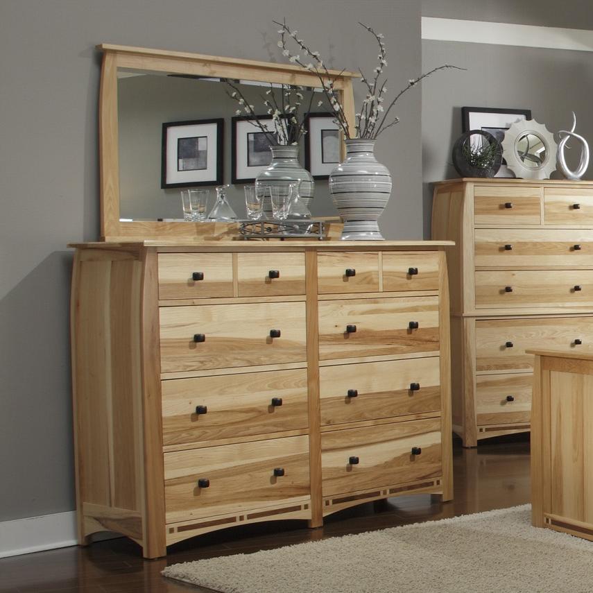 Solid Hickory 8-Drawer Dresser with Framed Landscape Mirror
