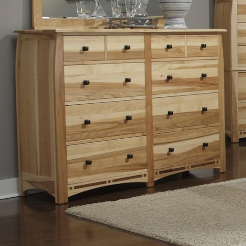 AAmerica Adamstown Solid Hickory Dresser with 8 Drawers