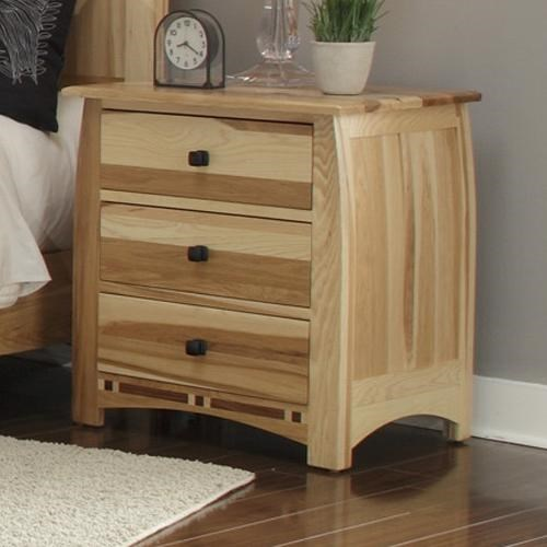 Solid Hickory Nightstand with Solid Walnut Inlay