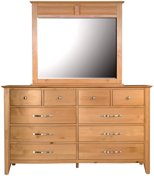 AAmerica Alderbrook 10 Drawer Dresser & Panel Mirror Set