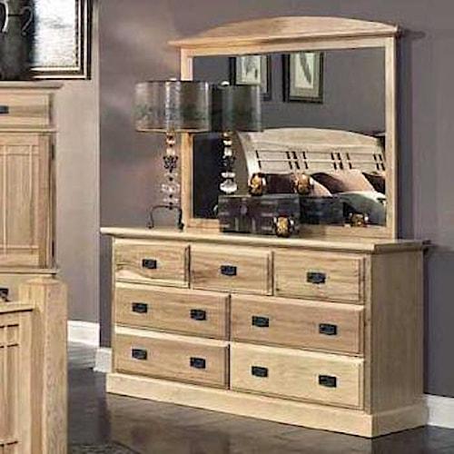 AAmerica Amish Highlands 7 Drawer Dresser with Landscape Mirror
