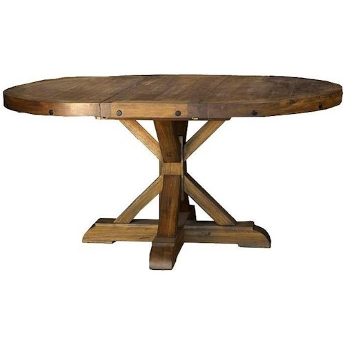 AAmerica Anacortes Round To Oval Pedestal Dining Table With Leaf - Oblong pedestal dining table