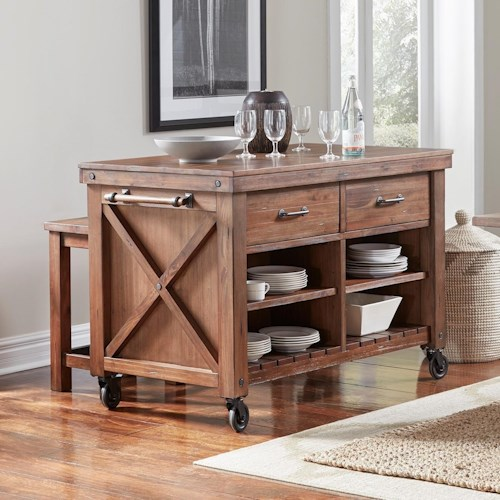 AAmerica Anacortes Kitchen Island with Wood Top and Locking Casters