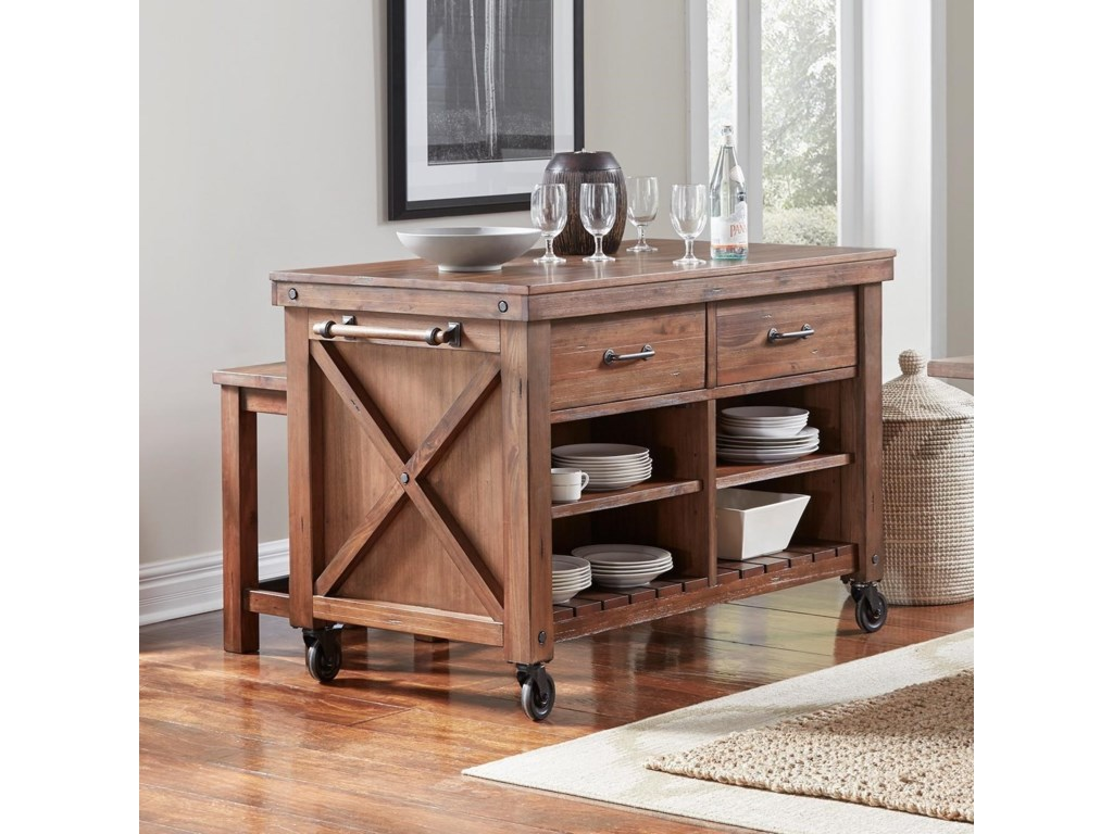 Aamerica Anacortes Kitchen Island With Wood Top And Locking Casters Conlin S Furniture Kitchen Islands