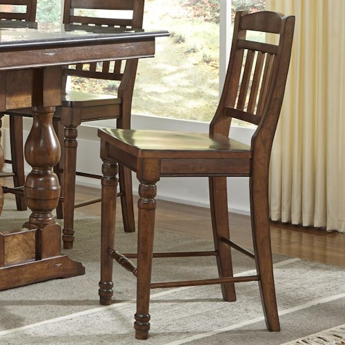 AAmerica Andover Park Slatback Counter Stool with Turned Front Legs