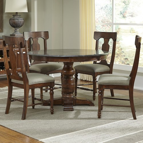 AAmerica Andover Park 5 Piece Round Table and Side Chairs Dining Set