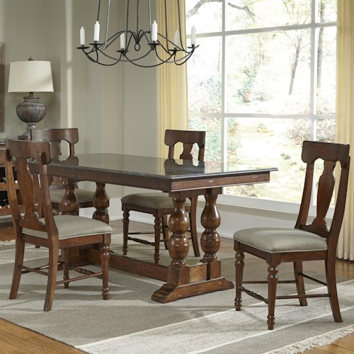 AAmerica Andover Park 5 Piece Trestle Table and Side Chair Dining Set