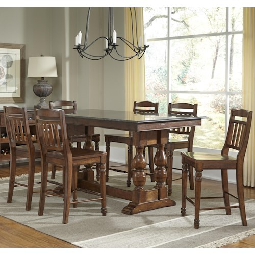 AAmerica Andover Park 7 Piece Counter Height Trestle Table and Stool Set