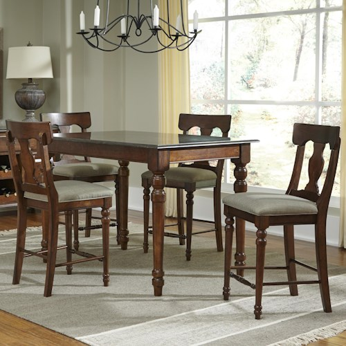 AAmerica Andover Park 5 Piece Rectangular Counter Height Table and Stool Set