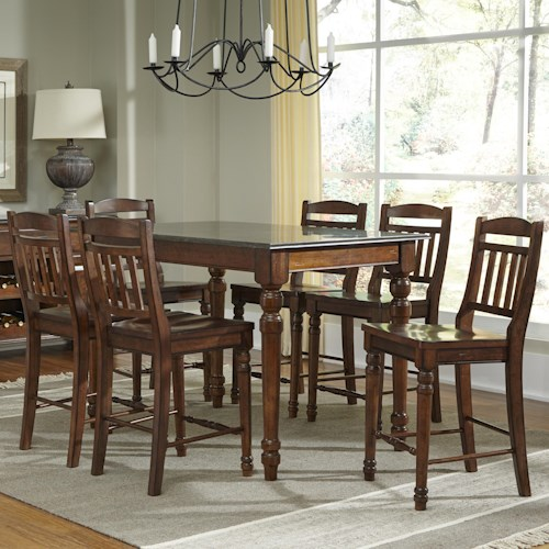 AAmerica Andover Park 7 Piece Rectangular Counter Height Table and Stool Set
