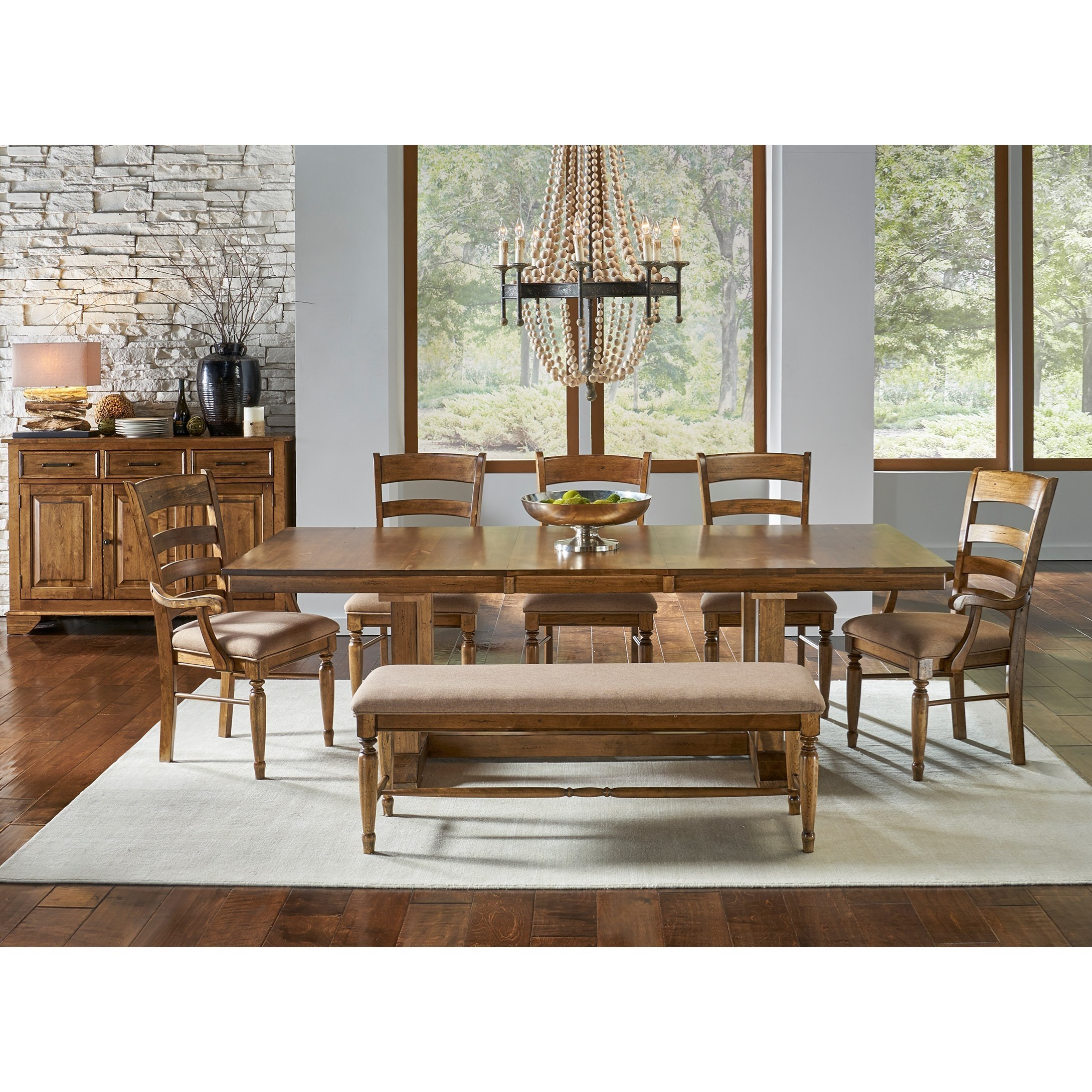 AAmerica Bennett7 Piece Trestle Dining Set ...