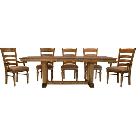 6 Piece Trestle Dining Set