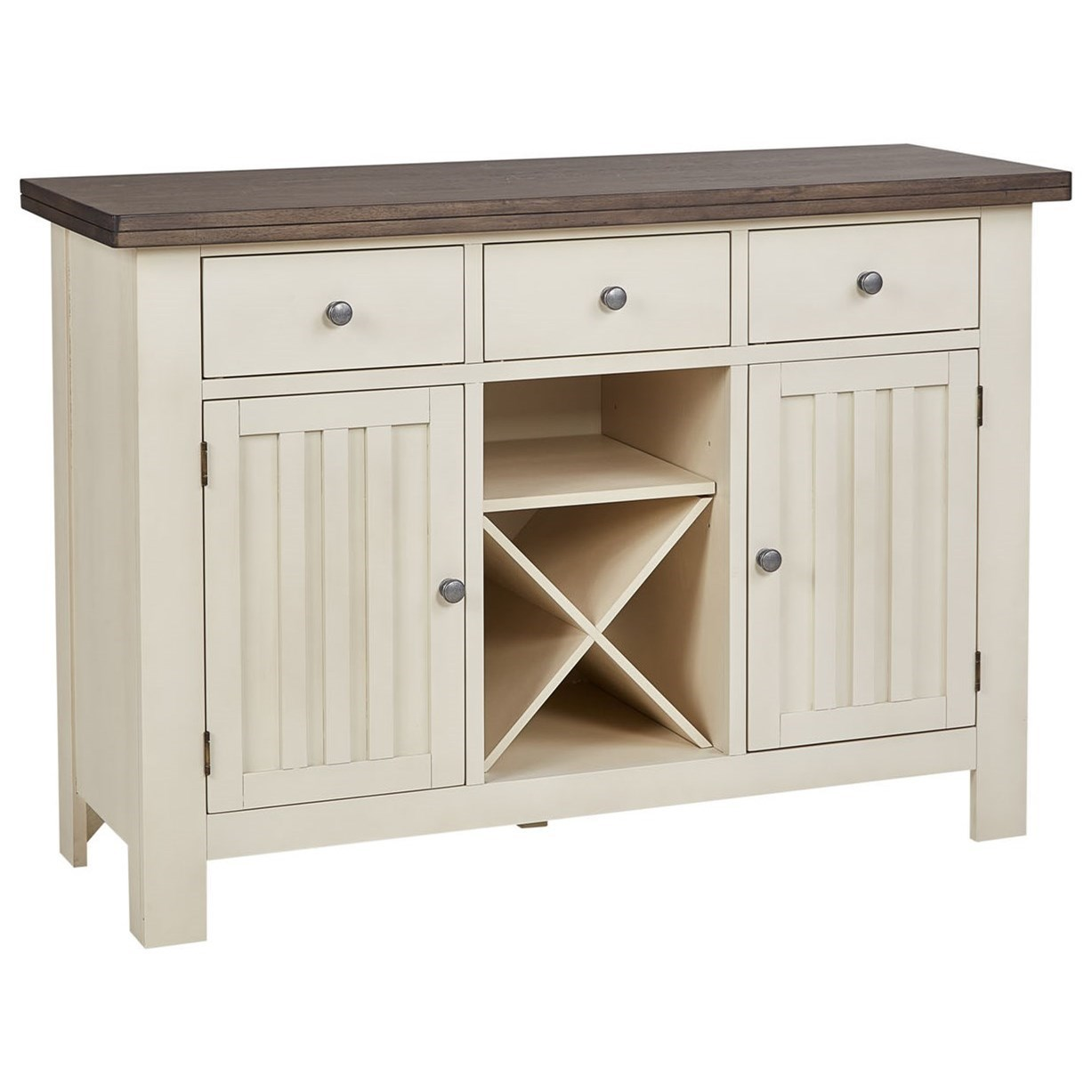 Solid Wood Transitional 3-Drawer Server with Built-In Wine Storage
