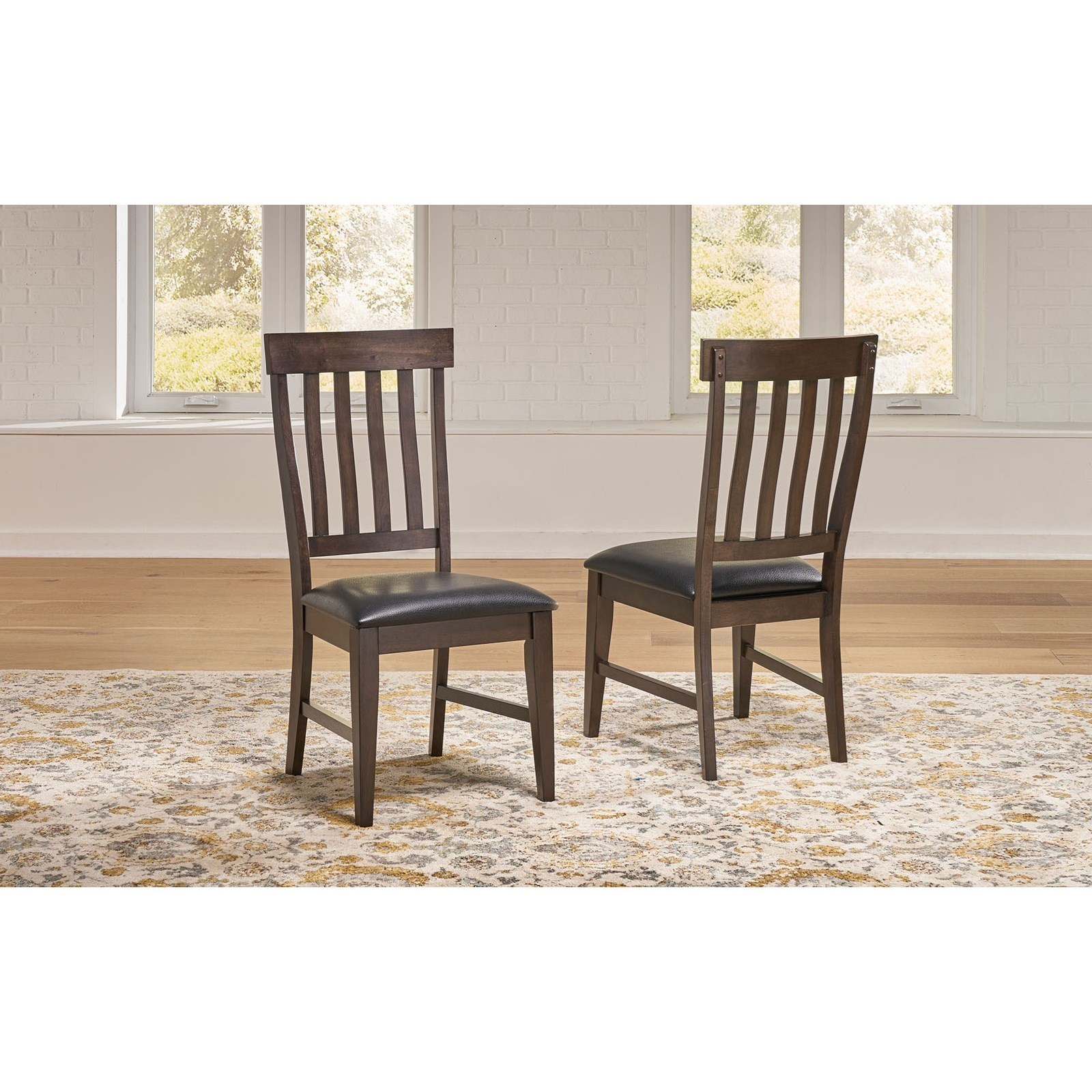Solid Wood Transitional Slatback Side Chair with Upholstered Seat