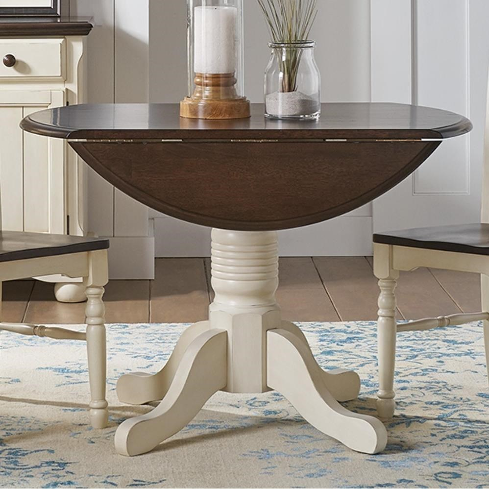 Picture of: Aamerica British Isles Co Round Dropleaf Table With Pedestal Base Wayside Furniture Kitchen Tables