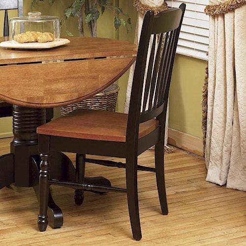AAmerica British Isles Two-Tone Slatback Dining Side Chair