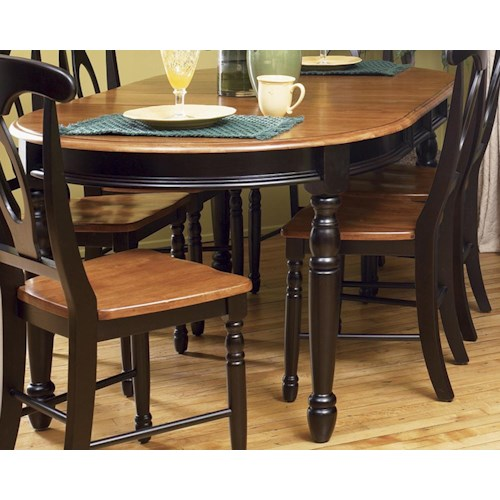 AAmerica British Isles Oval Leg Dining Table with Two Leaves