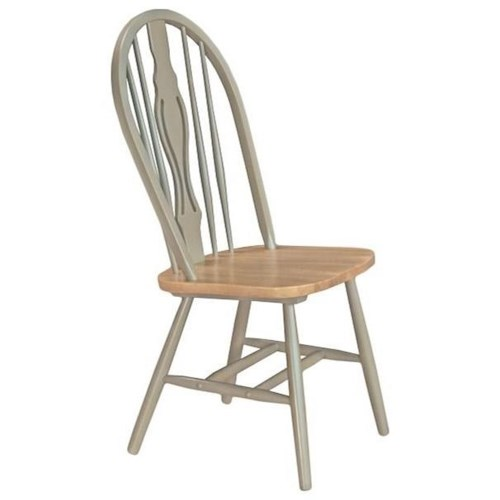 AAmerica British Isles Two-Tone Keyhole Back Dining Side Chair with Cleat Base