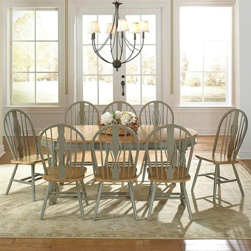 AAmerica British Isles 9 Piece Oval Table and Keyhole Chair Dining Set