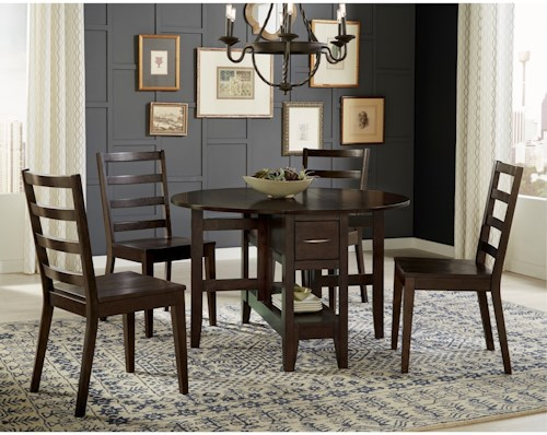 AAmerica Brooklyn Heights 5 Piece Gate Leg Dining Set With Ladderback Chairs