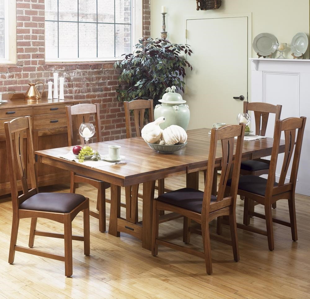 AAmerica Cattail Bungalow 7 Piece Trestle Table Dining Set W/ 6 Side Chairs