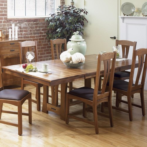 Aamerica cattail bungalow 42 x 60 trestle table w 2 18 for Dining room table 42 x 60