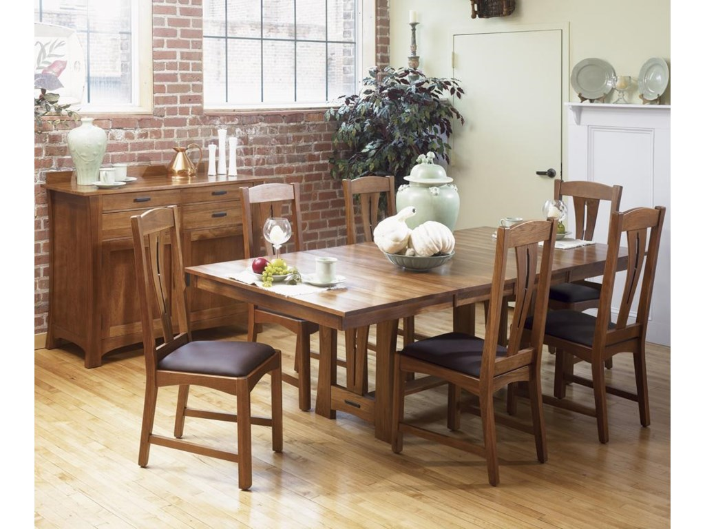 Shown with side chairs and sideboard