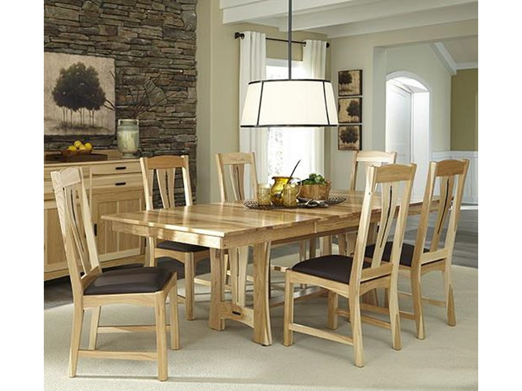 AAmerica Cattail Bungalow7-Piece Trestle Table Dining Set