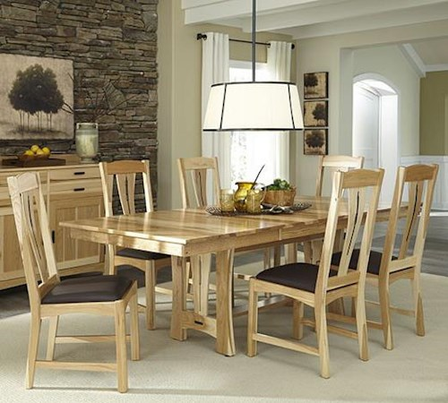 AAmerica Cattail Bungalow 7-Piece Trestle Table Dining Set w/ 6 Side Chairs