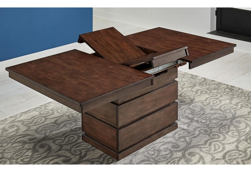 Aamerica Chesney Convertible Storage Table W Leaf Furniture Superstore Rochester Mn Dining Tables
